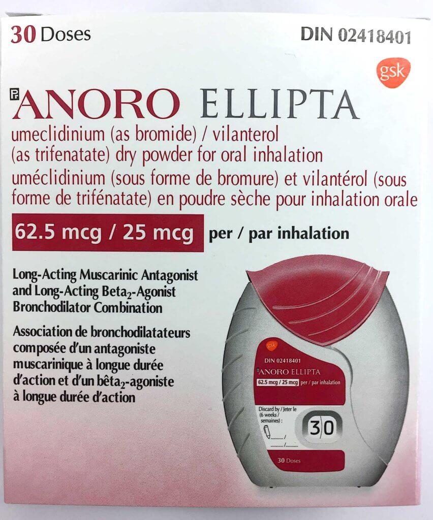 Anoro Ellipta 62.5mcg/25mcg 30 doses from Canada