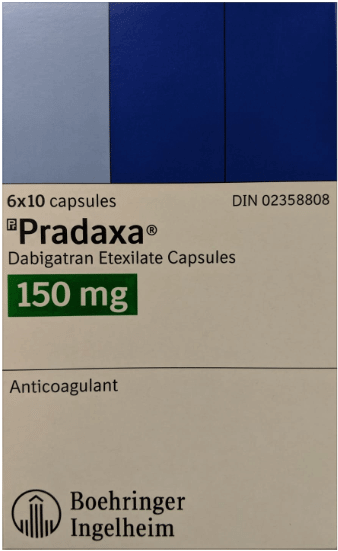box of Pradaxa 150mg capsules