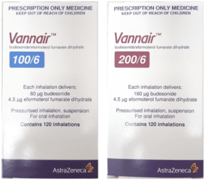 boxes of Vannair 100/6 and 200/6 which are also marketed as Symbicort Inhaler